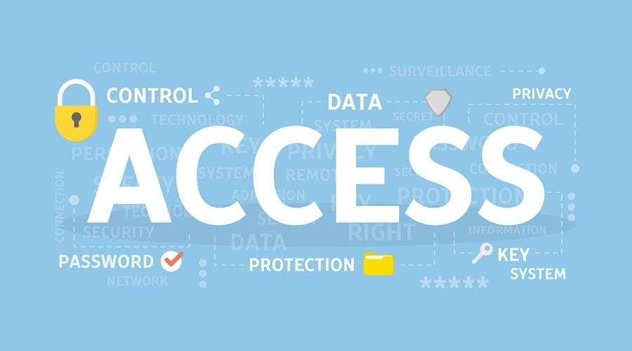 ACCESS graphic on blue